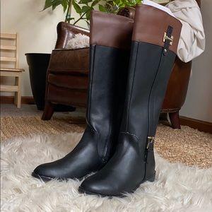 Karen Scott tall black cognac boots wide calf gold